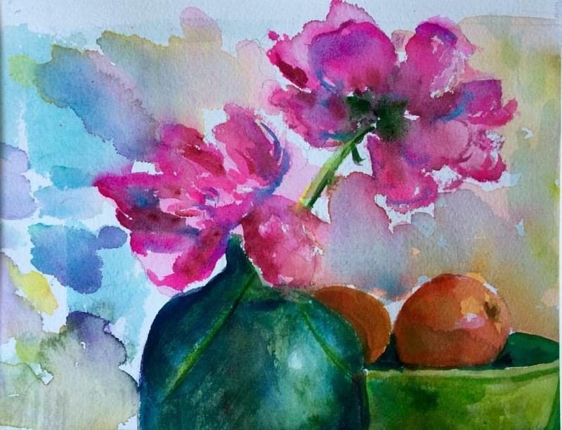 watercolor, sold